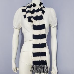 Stripe White and Blue Scarf Women's Handmade
